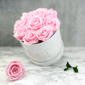 THE JUBILEE – Pink Evighetsrosor Box Rund - Velvet - Pearl White 2
