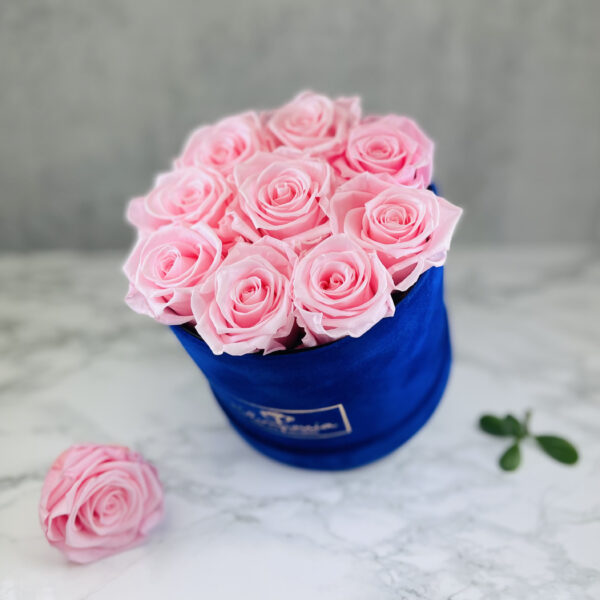 THE JUBILEE – Pink Evighetsrosor Box Rund - Velvet - Royal Blue 2