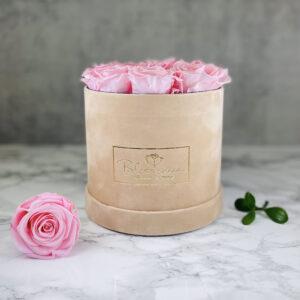 THE JUBILEE – Pink Evighetsrosor Box Rund - Velvet - Sand 1