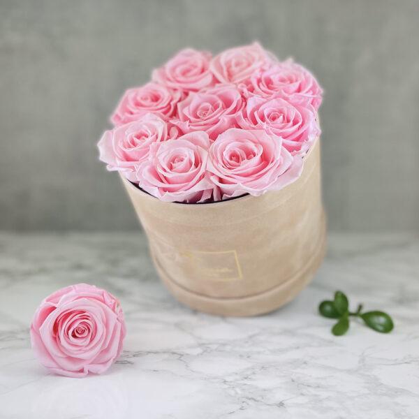 THE JUBILEE – Pink Evighetsrosor Box Rund - Velvet - Sand 2