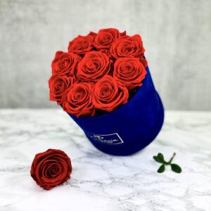 THE JUBILEE – Red Evighetsrosor Box Rund - Velvet Royal Blue 2