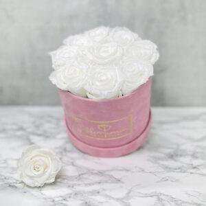 THE JUBILEE – White Evighetsrosor Box Rund - Velvet Pink 2