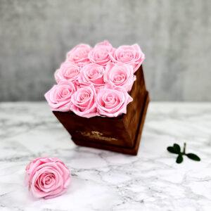 THE LEGACY – Pink Evighetsrosor Box Fyrkantig - Velvet Brown 2